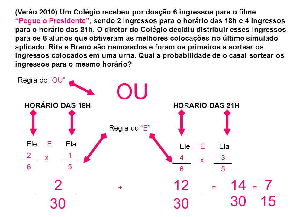 (Verâo 2010) Um Colégio recebeu por doação 6 ingressos para o filme Pegue o Presidente, sendo 2 ingressos para o horário das 18h e 4 ingressos para o