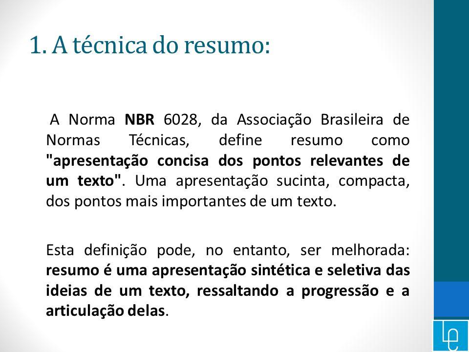1. A técnica do resumo: A Norma NBR 6028, da Associação Brasileira de Normas Técnicas, define resumo como