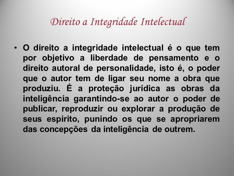 Direito a Integridade Intelectual O direito a integridade intelectual é o que tem por objetivo a liberdade de pensamento e o direito autoral de person