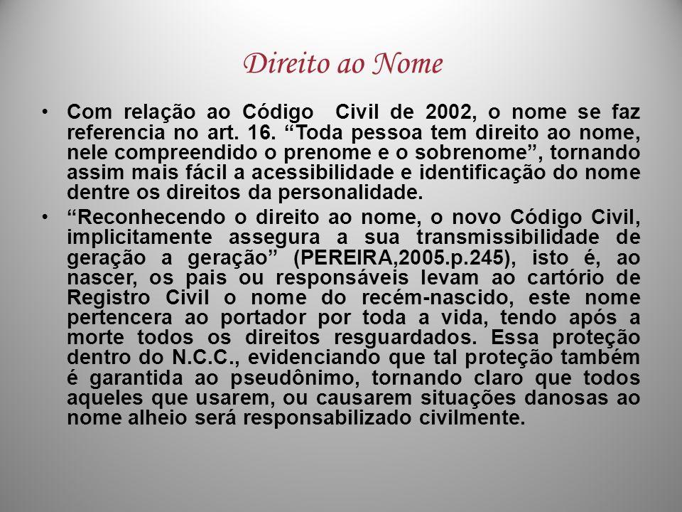 Direito ao Nome Com relação ao Código Civil de 2002, o nome se faz referencia no art. 16. Toda pessoa tem direito ao nome, nele compreendido o prenome