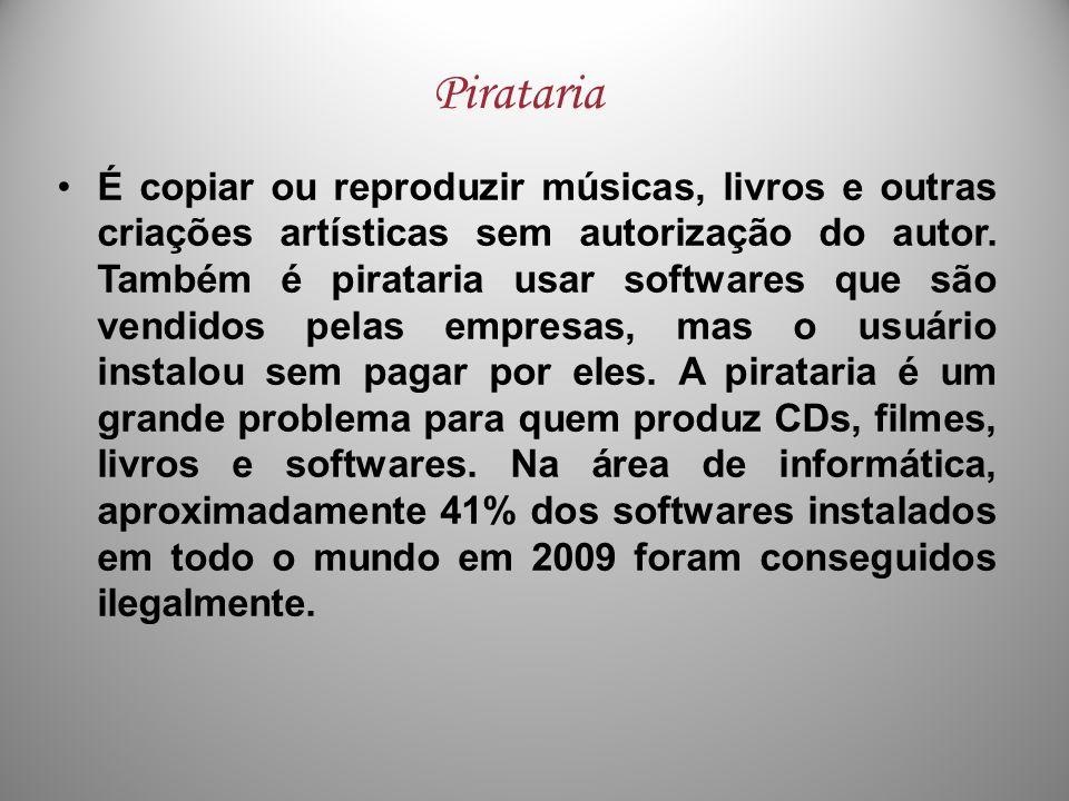 É copiar ou reproduzir músicas, livros e outras criações artísticas sem autorização do autor. Também é pirataria usar softwares que são vendidos pelas