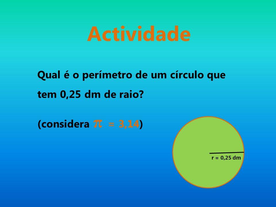 Actividade Qual é o perímetro de um círculo que tem 0,25 dm de raio? (considera π = 3,14) r = 0,25 dm