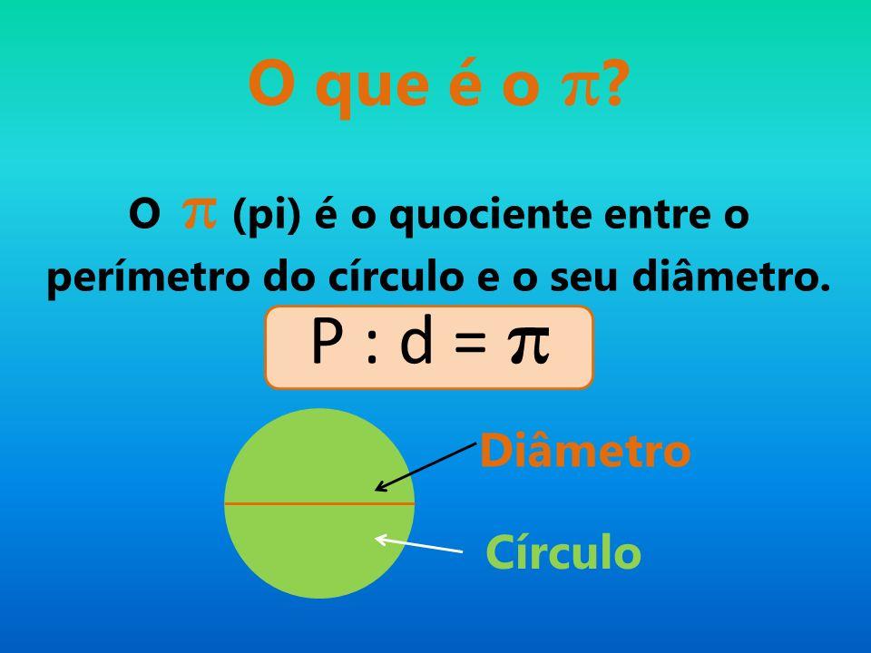 O π (pi) é o quociente entre o perímetro do círculo e o seu diâmetro. Diâmetro Círculo O que é o π ? P : d = π