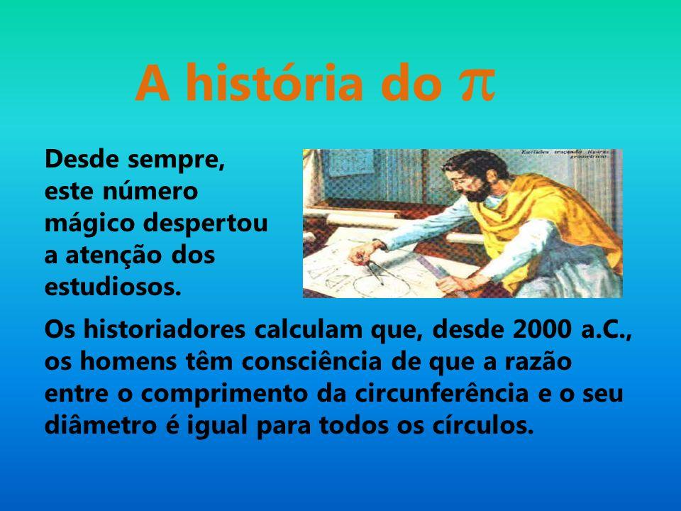 Desde sempre, este número mágico despertou a atenção dos estudiosos. A história do π Os historiadores calculam que, desde 2000 a.C., os homens têm con