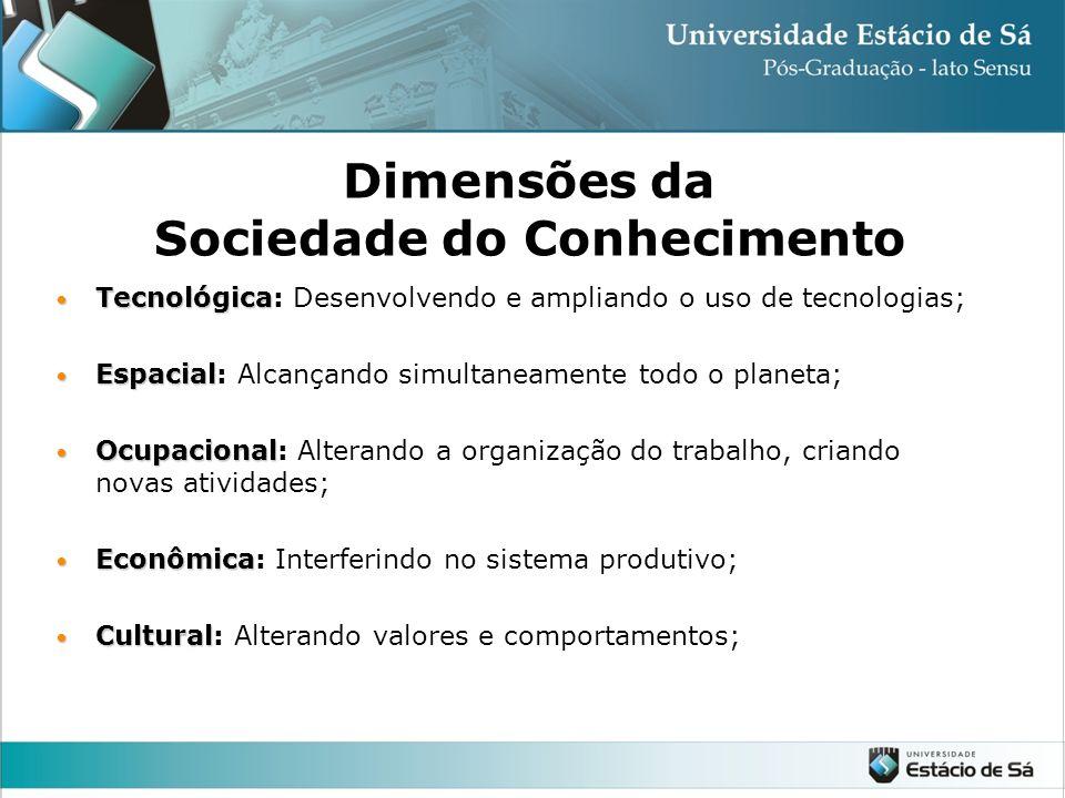 São arranjos sócio-econômicos pós-industriais, marcados pela preponderância da informação e do conhecimento e pela predominância dos processos organiz