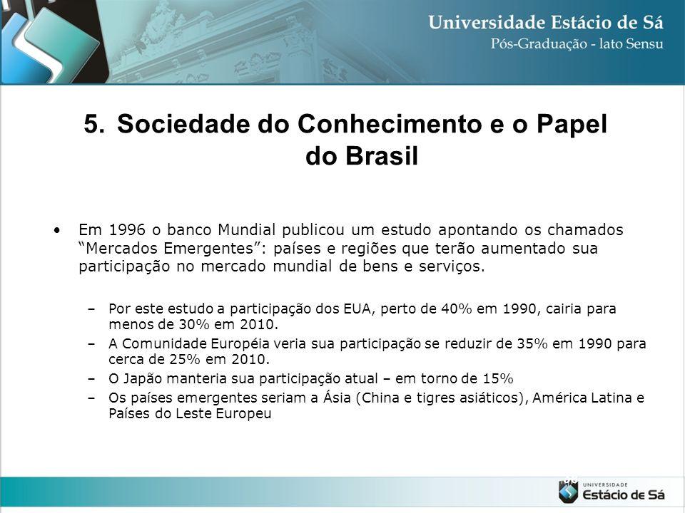 5.Sociedade do Conhecimento e o Papel do Brasil 37 As atividades que ocupam o lugar central das organizações não são mais aquelas que visam produzir o