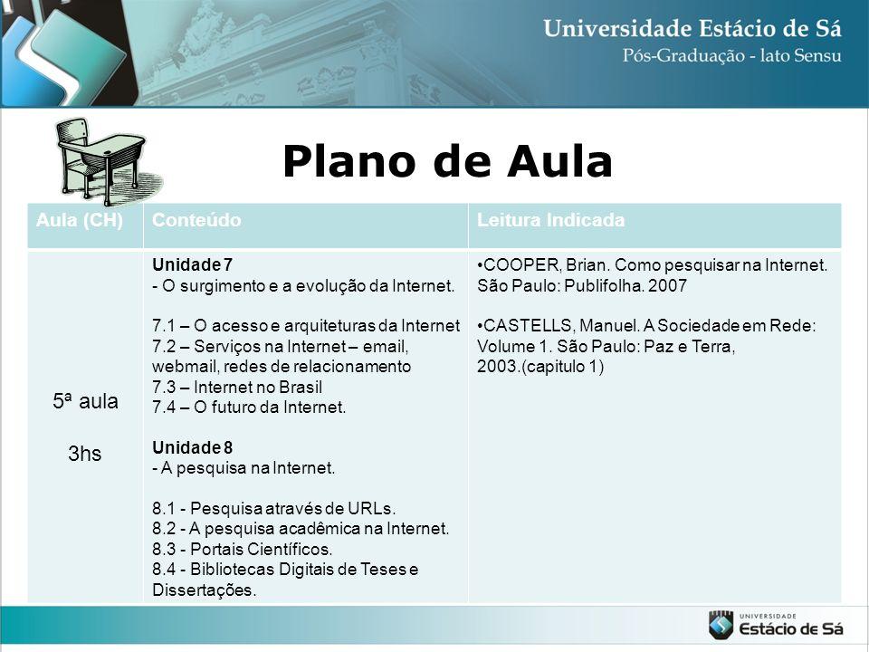 Plano de Aula Aula (CH)ConteúdoLeitura Indicada 5ª aula 3hs Unidade 7 - O surgimento e a evolução da Internet.