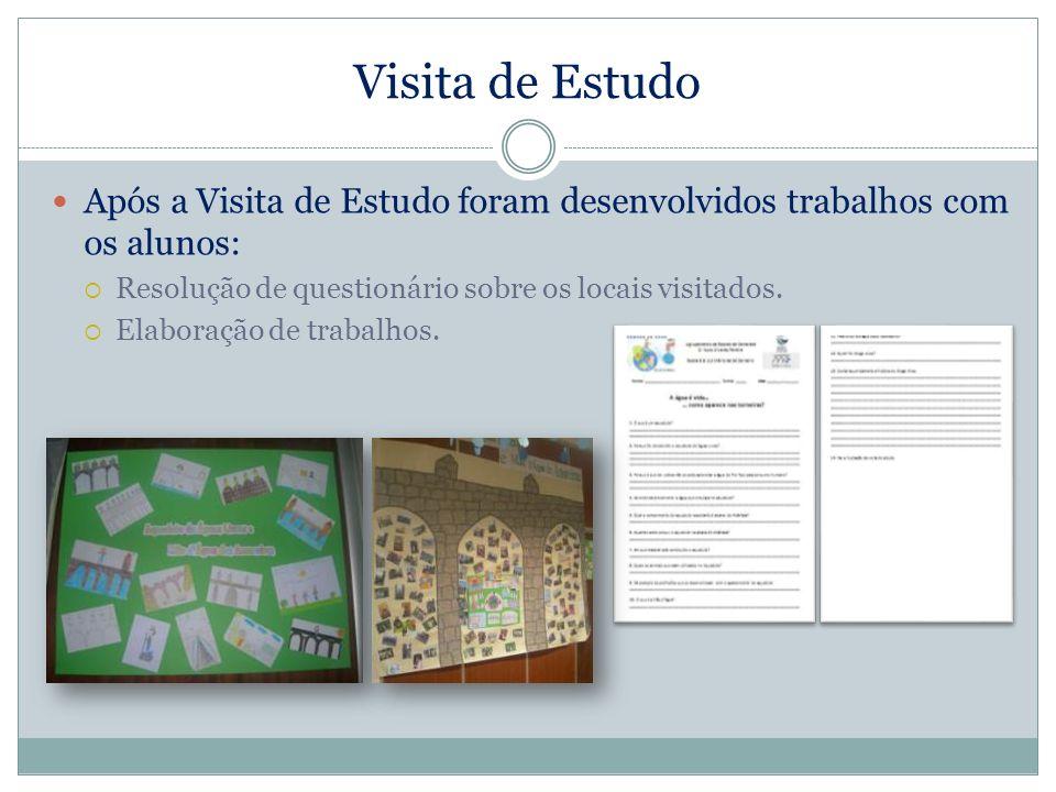 Visita de Estudo Após a Visita de Estudo foram desenvolvidos trabalhos com os alunos: Resolução de questionário sobre os locais visitados. Elaboração