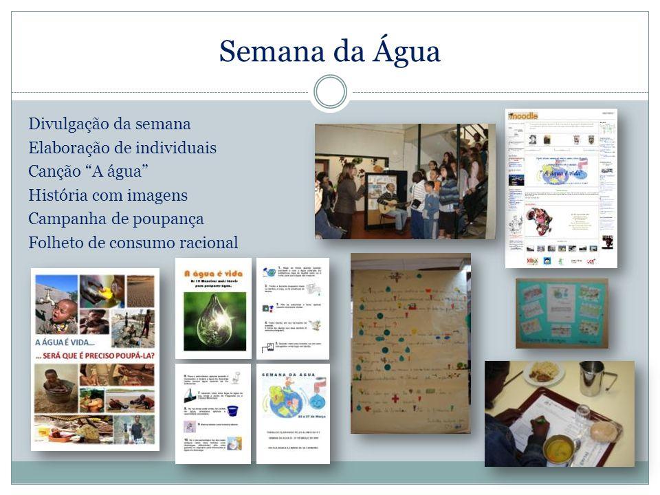 Semana da Água Divulgação da semana Elaboração de individuais Canção A água História com imagens Campanha de poupança Folheto de consumo racional