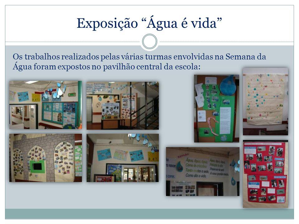 Exposição Água é vida Os trabalhos realizados pelas várias turmas envolvidas na Semana da Água foram expostos no pavilhão central da escola: