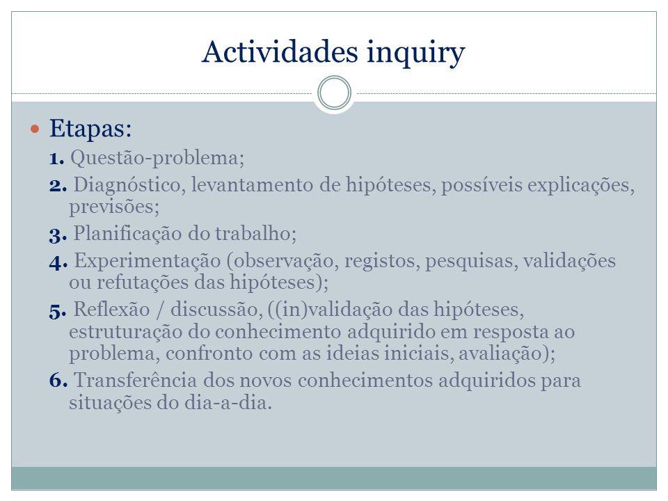 Actividades inquiry Etapas: 1. Questão-problema; 2. Diagnóstico, levantamento de hipóteses, possíveis explicações, previsões; 3. Planificação do traba
