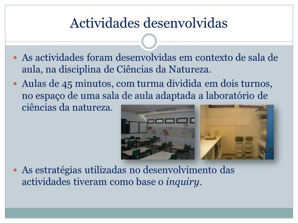 Actividades desenvolvidas As actividades foram desenvolvidas em contexto de sala de aula, na disciplina de Ciências da Natureza. Aulas de 45 minutos,