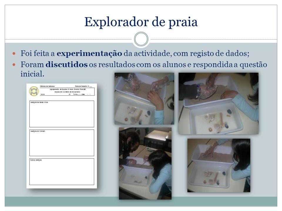Explorador de praia Foi feita a experimentação da actividade, com registo de dados; Foram discutidos os resultados com os alunos e respondida a questã