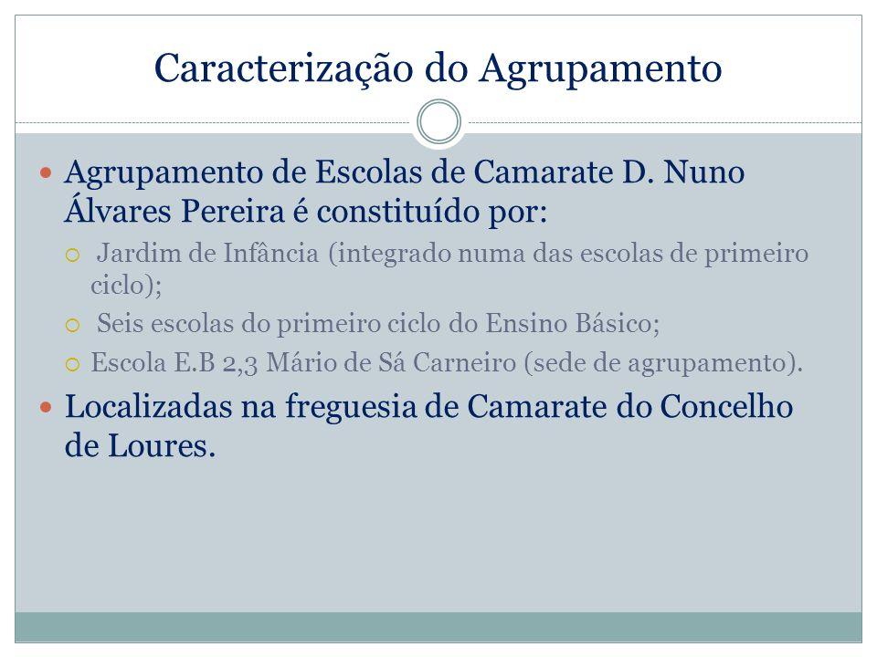 Caracterização do Agrupamento Agrupamento de Escolas de Camarate D. Nuno Álvares Pereira é constituído por: Jardim de Infância (integrado numa das esc