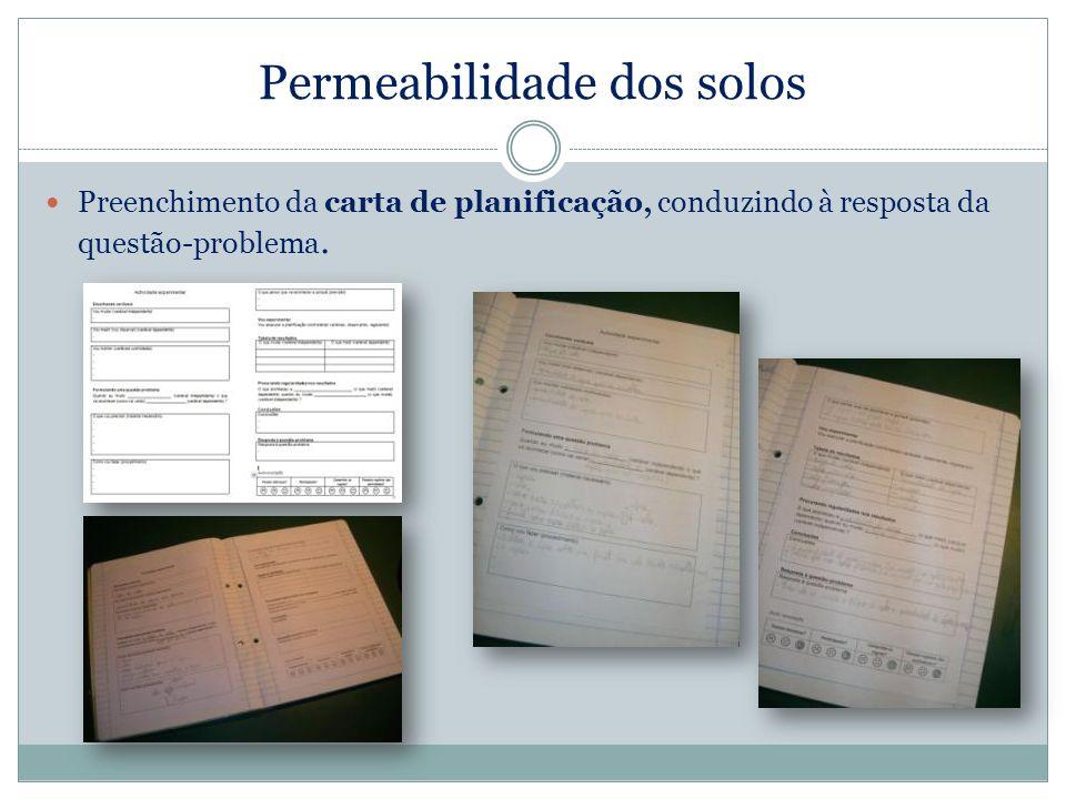 Permeabilidade dos solos Preenchimento da carta de planificação, conduzindo à resposta da questão-problema.