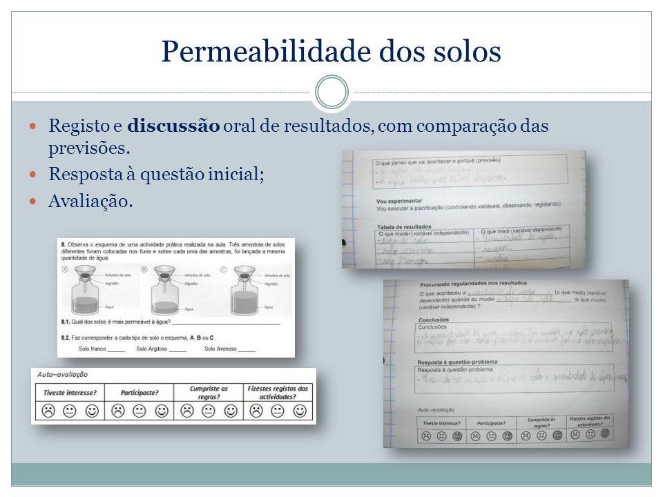 Permeabilidade dos solos Registo e discussão oral de resultados, com comparação das previsões. Resposta à questão inicial; Avaliação.