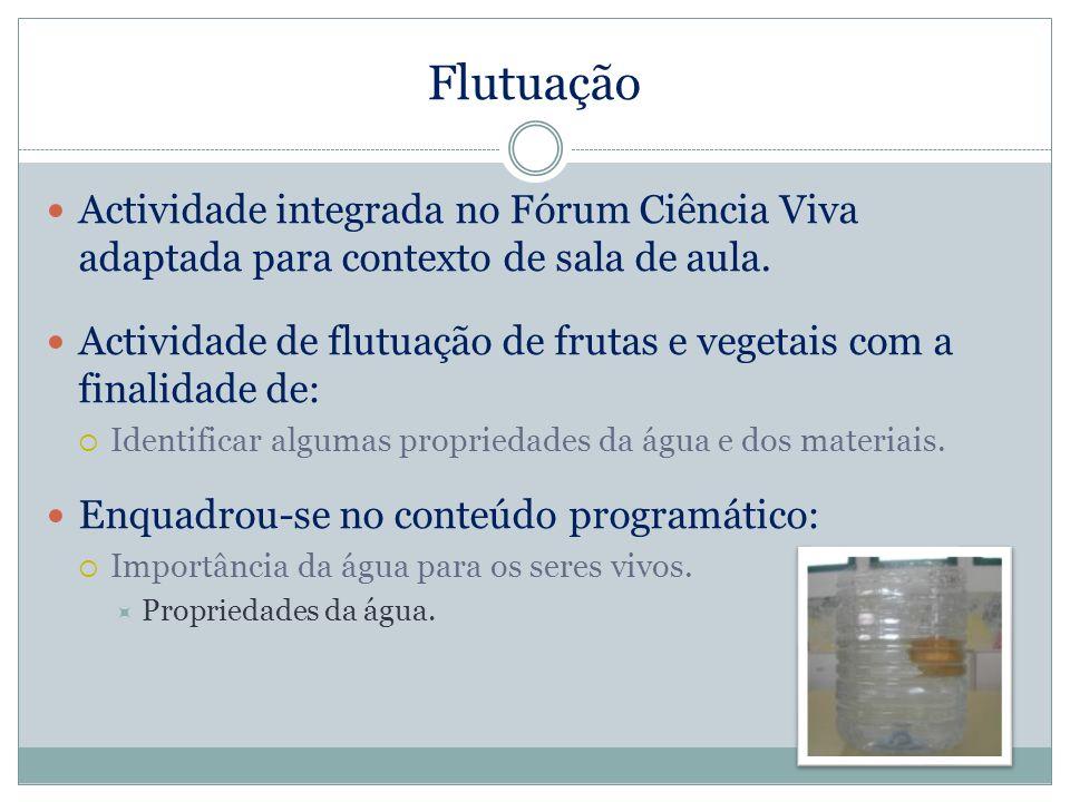Flutuação Actividade integrada no Fórum Ciência Viva adaptada para contexto de sala de aula. Actividade de flutuação de frutas e vegetais com a finali