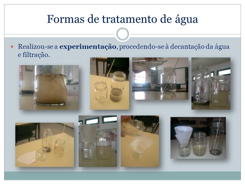 Formas de tratamento de água Realizou-se a experimentação, procedendo-se à decantação da água e filtração.