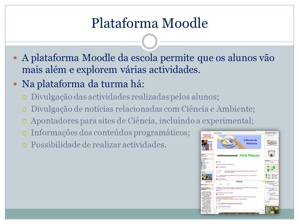 Plataforma Moodle A plataforma Moodle da escola permite que os alunos vão mais além e explorem várias actividades. Na plataforma da turma há: Divulgaç