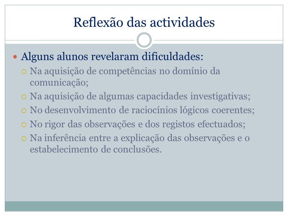 Reflexão das actividades Alguns alunos revelaram dificuldades: Na aquisição de competências no domínio da comunicação; Na aquisição de algumas capacid