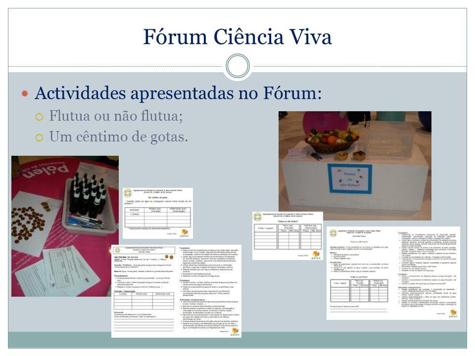 Fórum Ciência Viva Actividades apresentadas no Fórum: Flutua ou não flutua; Um cêntimo de gotas.