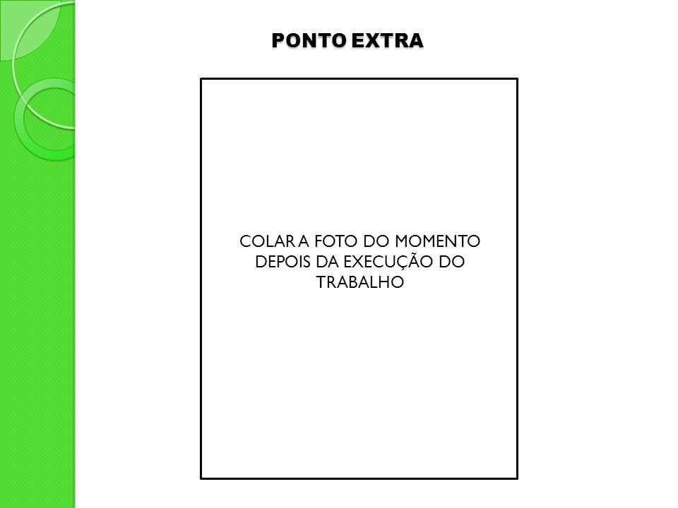 COLAR A FOTO DO MOMENTO DEPOIS DA EXECUÇÃO DO TRABALHO PONTO EXTRA