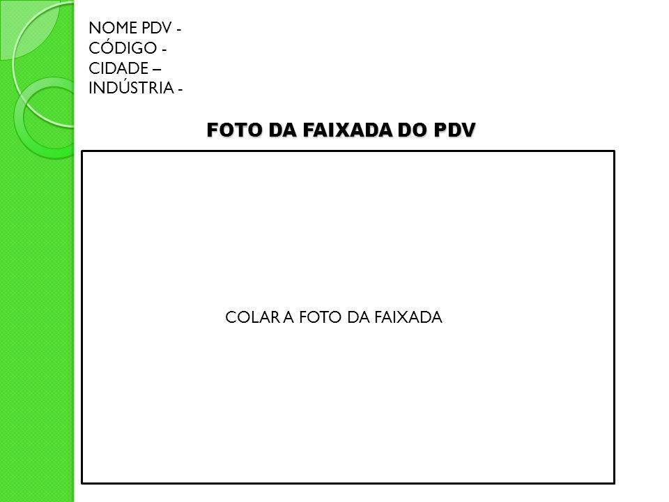 FOTO DA FAIXADA DO PDV COLAR A FOTO DA FAIXADA NOME PDV - CÓDIGO - CIDADE – INDÚSTRIA -