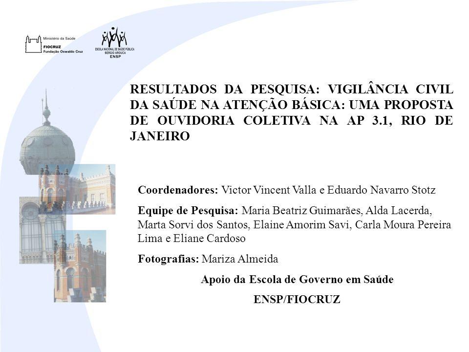 RESULTADOS DA PESQUISA: VIGILÂNCIA CIVIL DA SAÚDE NA ATENÇÃO BÁSICA: UMA PROPOSTA DE OUVIDORIA COLETIVA NA AP 3.1, RIO DE JANEIRO Coordenadores: Victo