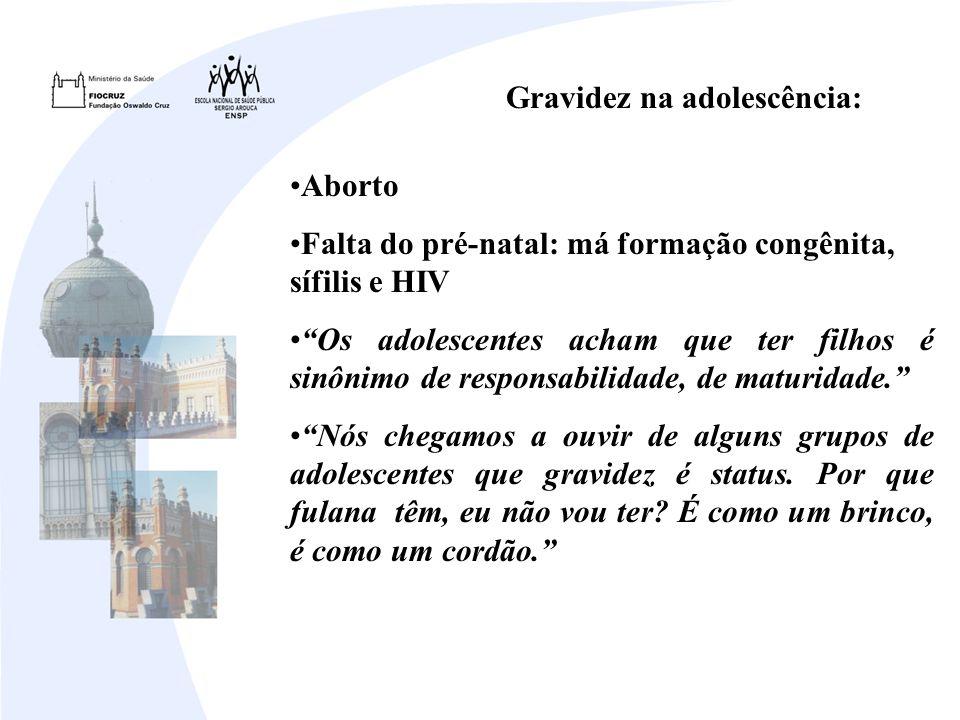 Gravidez na adolescência: Aborto Falta do pré-natal: má formação congênita, sífilis e HIV Os adolescentes acham que ter filhos é sinônimo de responsabilidade, de maturidade.