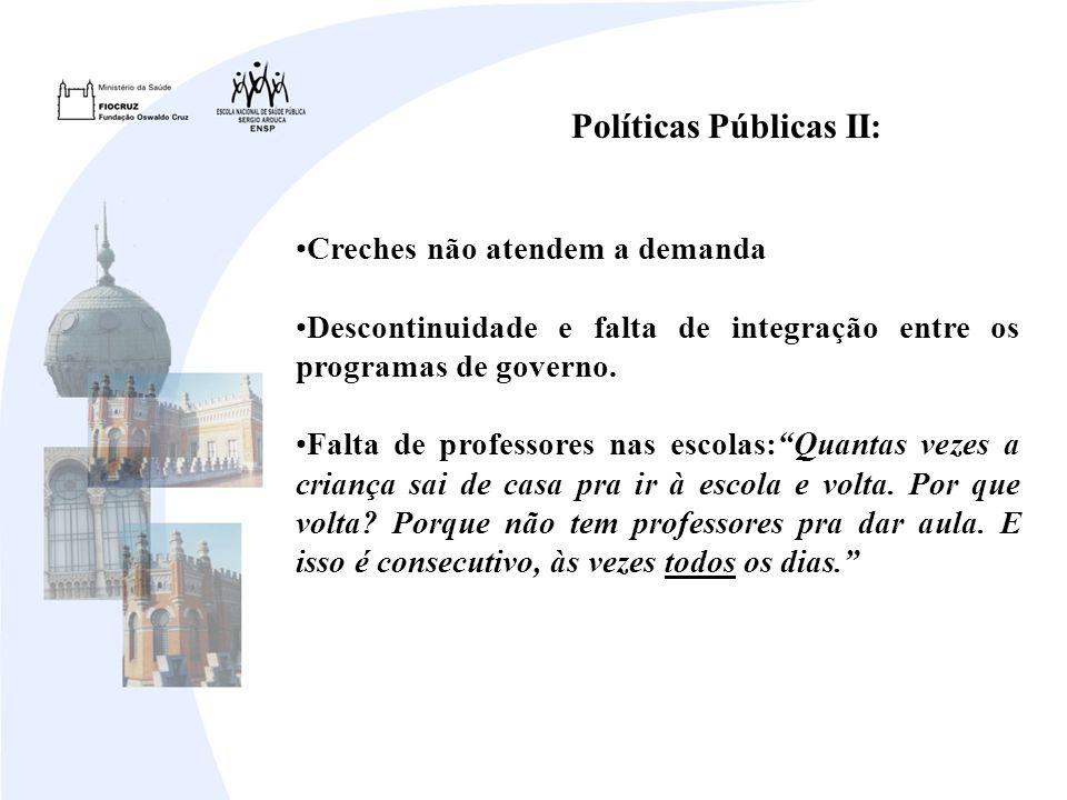 Políticas Públicas II: Creches não atendem a demanda Descontinuidade e falta de integração entre os programas de governo.