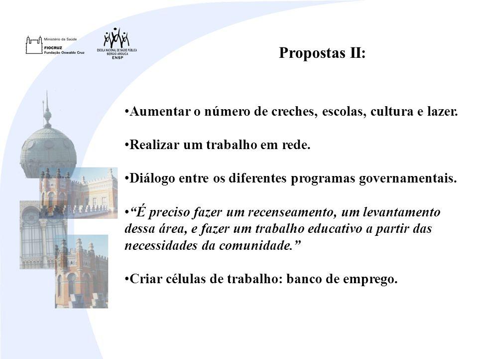 Propostas II: Aumentar o número de creches, escolas, cultura e lazer. Realizar um trabalho em rede. Diálogo entre os diferentes programas governamenta
