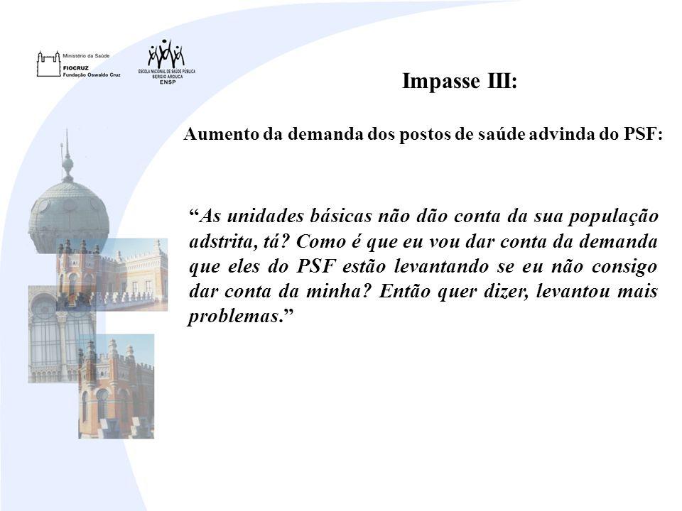 Aumento da demanda dos postos de saúde advinda do PSF: Impasse III: As unidades básicas não dão conta da sua população adstrita, tá.