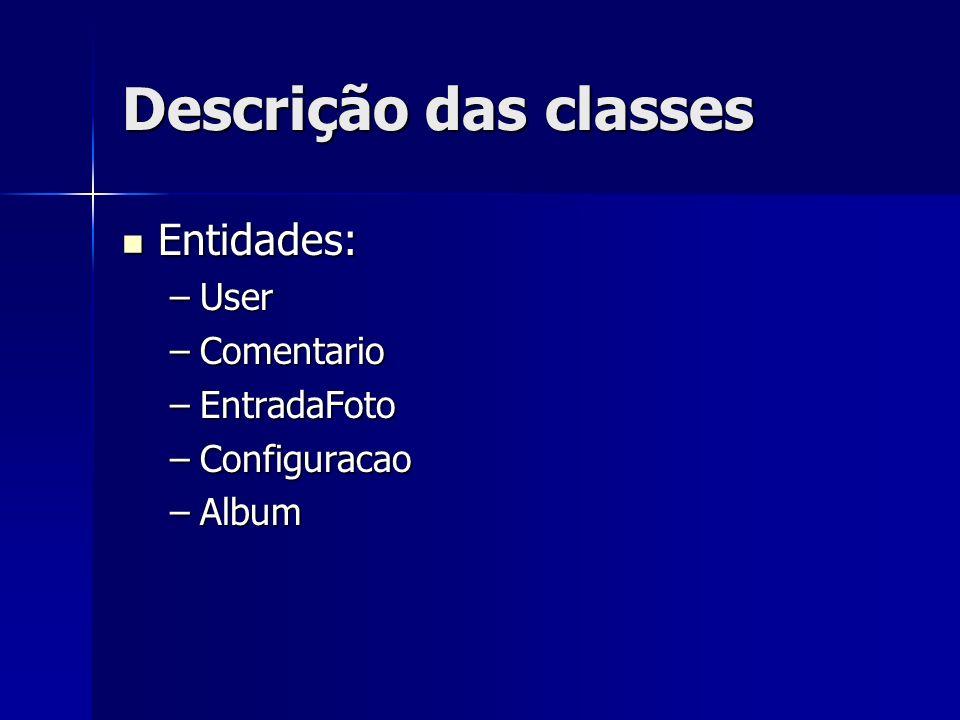 Descrição das classes Coleção de Entidades: Coleção de Entidades: –RepositorioAlbum –RespositorioUsuario –RespositorioComentario