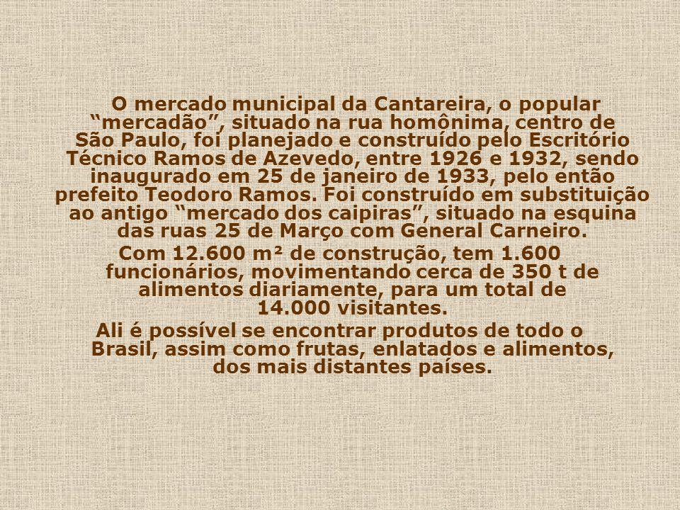 São Paulo: Minha Cidade! 02 MERCADO DA CANTAREIRA (Mercadão) MERCADO DA CANTAREIRA (Mercadão) Um povo sem memória, é um povo sem passado e sem futuro