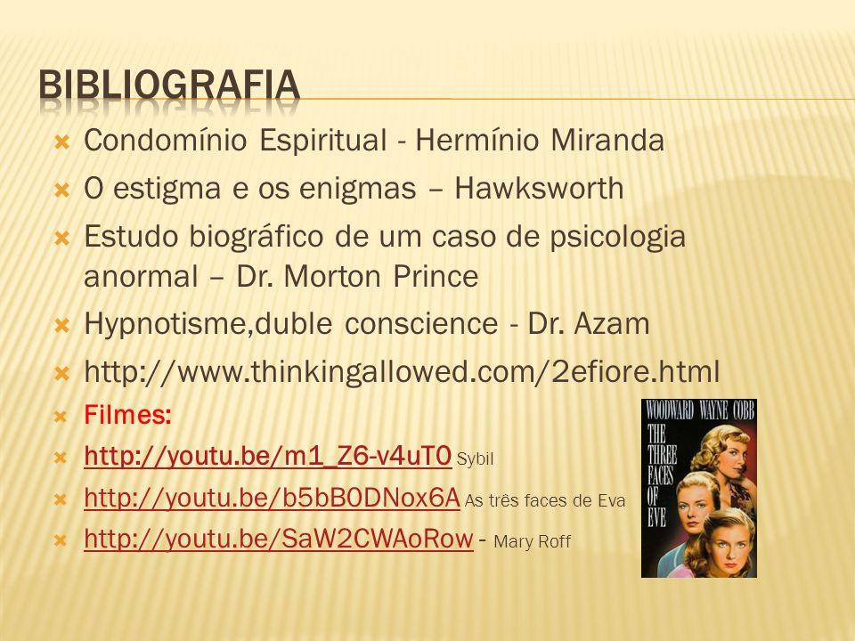 Condomínio Espiritual - Hermínio Miranda O estigma e os enigmas – Hawksworth Estudo biográfico de um caso de psicologia anormal – Dr. Morton Prince Hy
