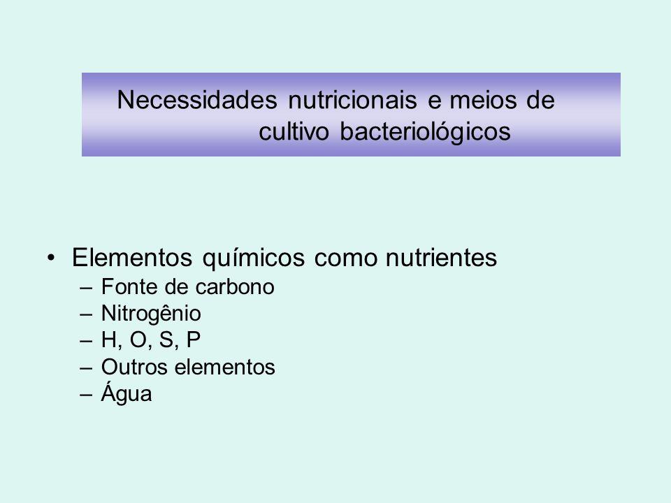 Elementos químicos como nutrientes –Fonte de carbono –Nitrogênio –H, O, S, P –Outros elementos –Água Necessidades nutricionais e meios de cultivo bact