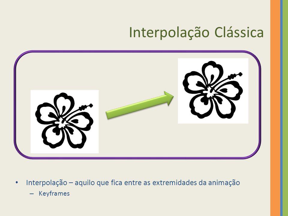Interpolação Clássica Interpolação – aquilo que fica entre as extremidades da animação – Keyframes