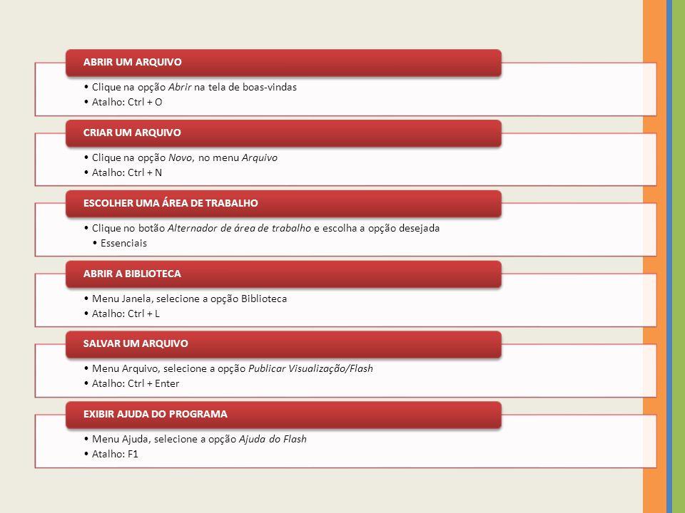 Clique na opção Abrir na tela de boas-vindas Atalho: Ctrl + O ABRIR UM ARQUIVO Clique na opção Novo, no menu Arquivo Atalho: Ctrl + N CRIAR UM ARQUIVO