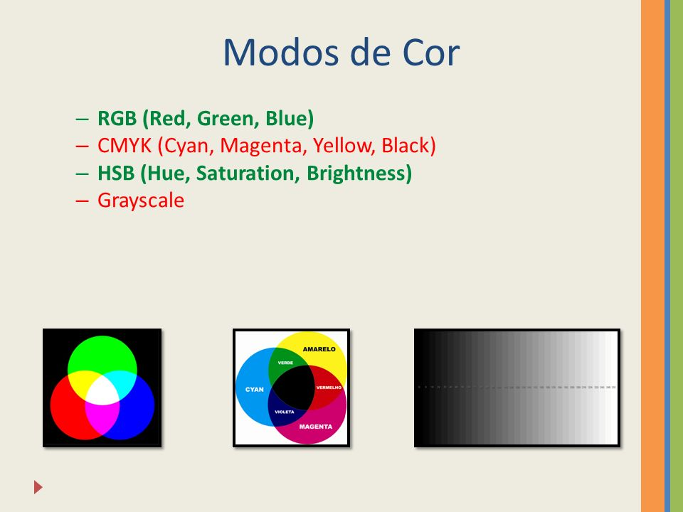 Modos de Cor – RGB (Red, Green, Blue) – CMYK (Cyan, Magenta, Yellow, Black) – HSB (Hue, Saturation, Brightness) – Grayscale