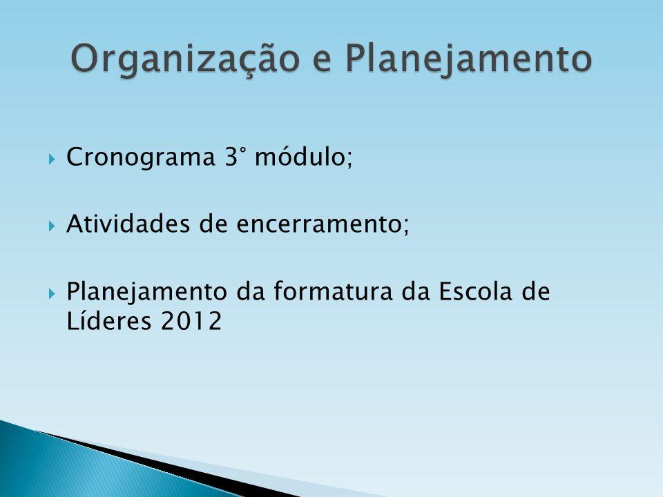 Cronograma 3° módulo; Atividades de encerramento; Planejamento da formatura da Escola de Líderes 2012