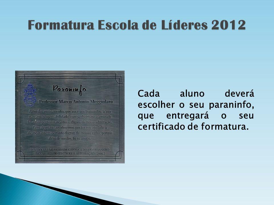 Cada aluno deverá escolher o seu paraninfo, que entregará o seu certificado de formatura.