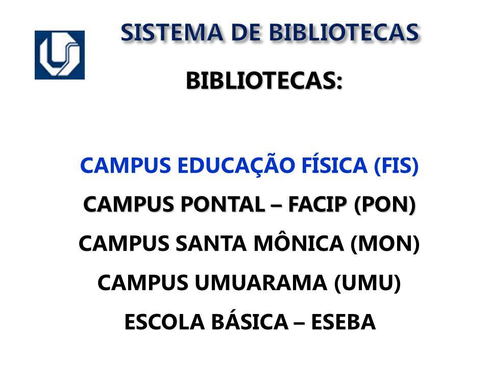SISTEMA DE BIBLIOTECAS BIBLIOTECAS: BIBLIOTECAS: CAMPUS EDUCAÇÃO FÍSICA (FIS) CAMPUS PONTAL – FACIP (PON) CAMPUS SANTA MÔNICA (MON) CAMPUS UMUARAMA (U