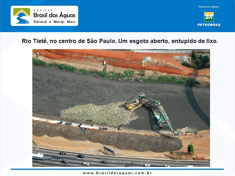 Rio Tietê, no centro de São Paulo. Um esgoto aberto, entupido de lixo.