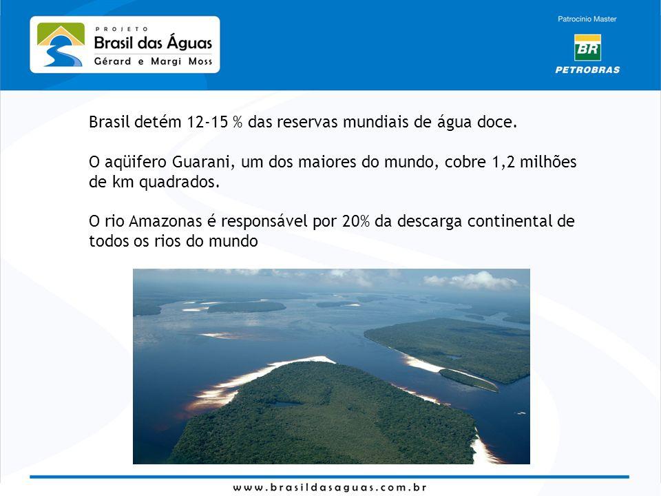 Brasil detém 12-15 % das reservas mundiais de água doce. O aqüifero Guarani, um dos maiores do mundo, cobre 1,2 milhões de km quadrados. O rio Amazona