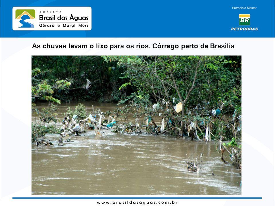 As chuvas levam o lixo para os rios. Córrego perto de Brasília