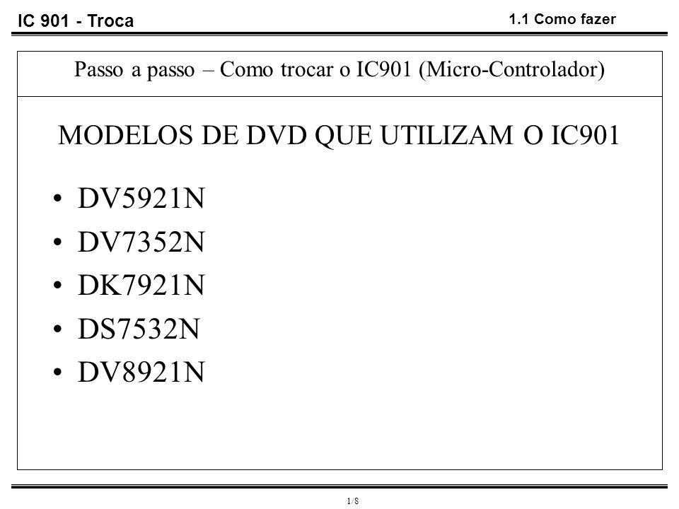 IC 901 - Troca 1.2 Como fazer 2/9 Passo a passo – Como trocar o IC901 (Micro-Controlador) DEFEITOS Display acende irregular Display não acende 1 1 2 FERRAMENTAS UTILIZADAS 1.Estação de solda 2.Estação dessoldadora 3.Pinça