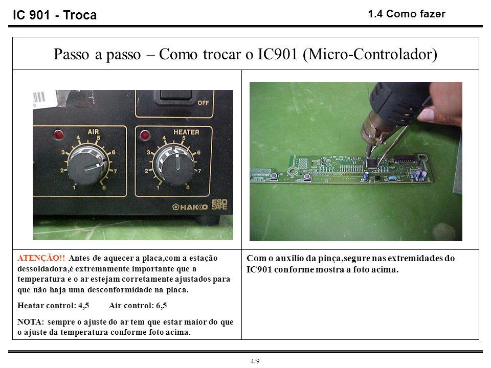 4/9 1.4 Como fazer Com o auxilio da pinça,segure nas extremidades do IC901 conforme mostra a foto acima. Passo a passo – Como trocar o IC901 (Micro-Co