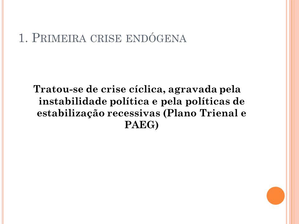 1. P RIMEIRA CRISE ENDÓGENA Tratou-se de crise cíclica, agravada pela instabilidade política e pela políticas de estabilização recessivas (Plano Trien