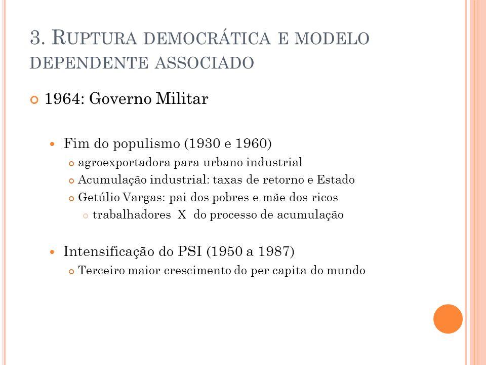 3. R UPTURA DEMOCRÁTICA E MODELO DEPENDENTE ASSOCIADO 1964: Governo Militar Fim do populismo (1930 e 1960) agroexportadora para urbano industrial Acum