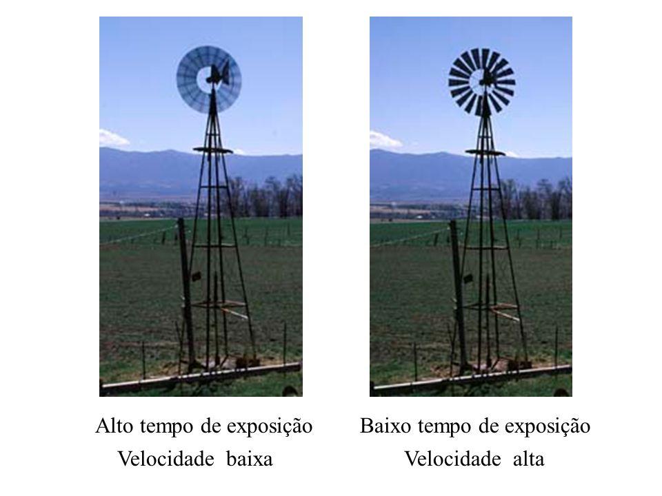 Velocidade baixaVelocidade alta Alto tempo de exposiçãoBaixo tempo de exposição